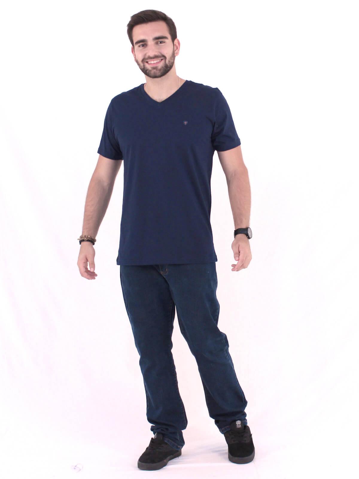 Camiseta Masculina Básica Decote V. Estampada Kingdom Marinho