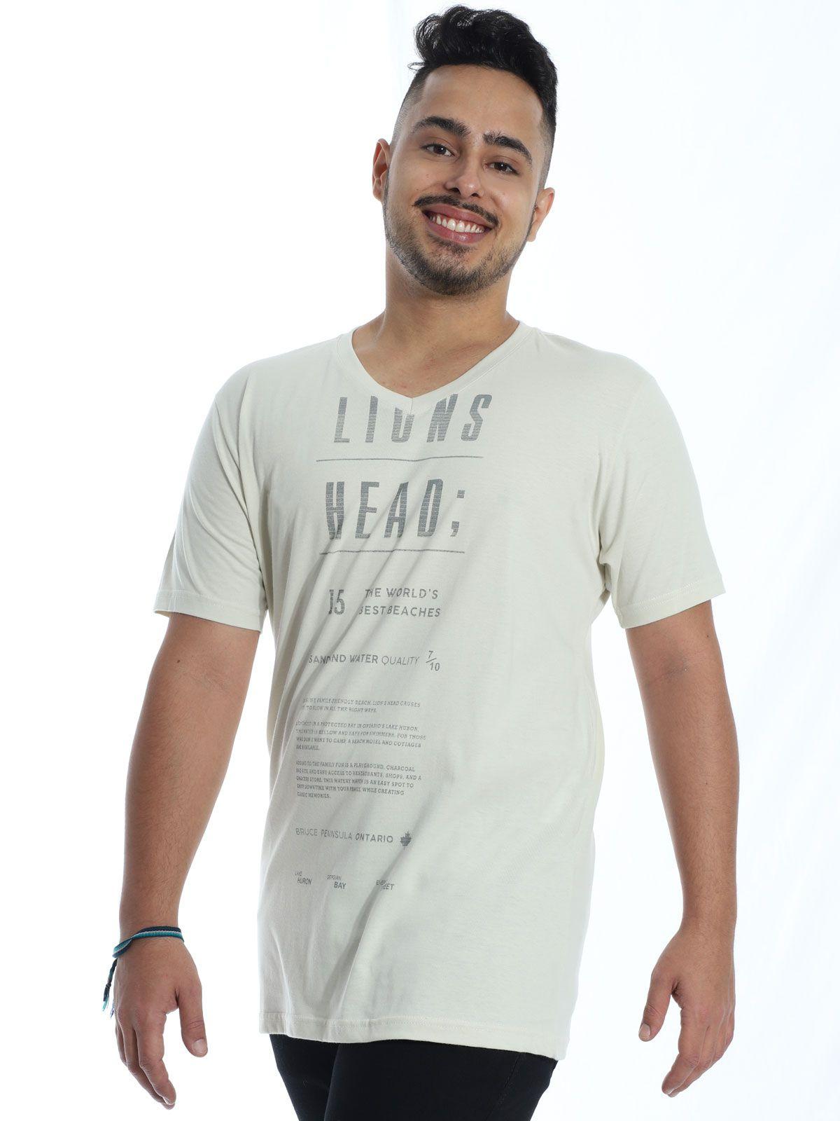Camiseta Masculina Básica Decote V. Manga Curta Lions Areia
