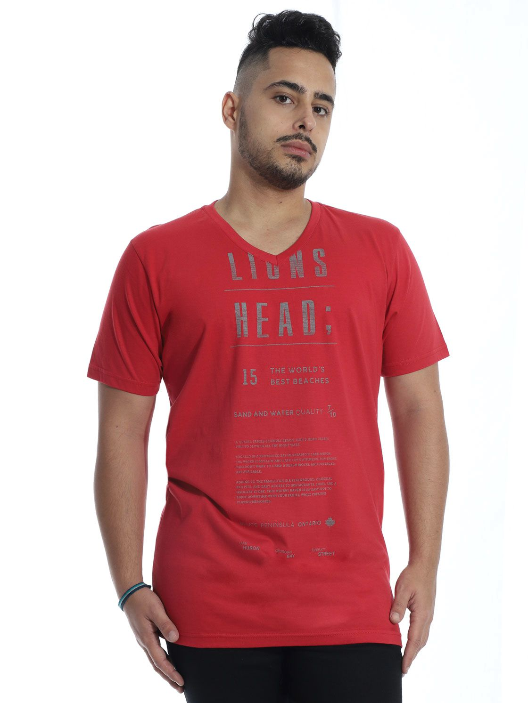 Camiseta Masculina Básica Decote V. Manga Curta Lions Vermelho