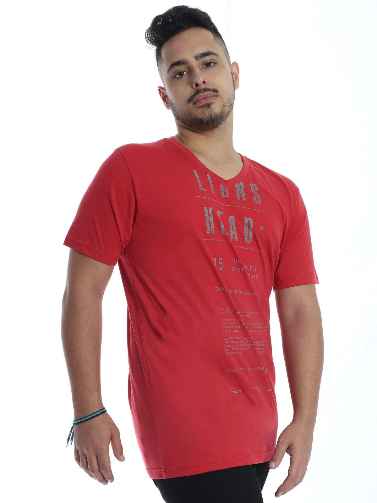 Camiseta Anistia Básica Decote V. Lions Vermelho