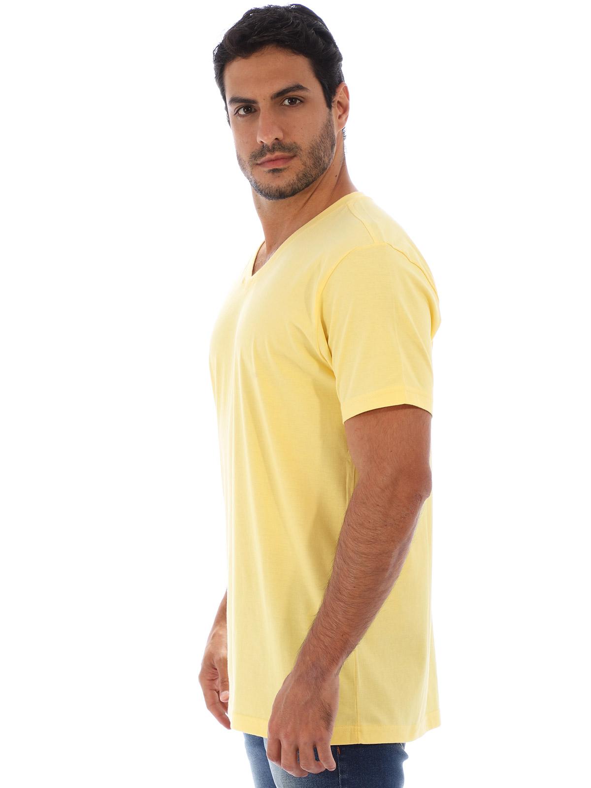 Camiseta Anistia Basica Decote V. Lisa Amarelo