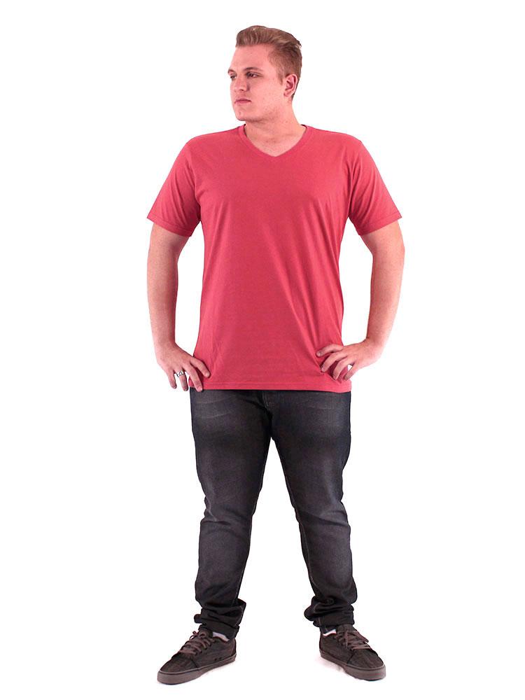 Camiseta Anistia Basica Decote V. Lisa Vermelho