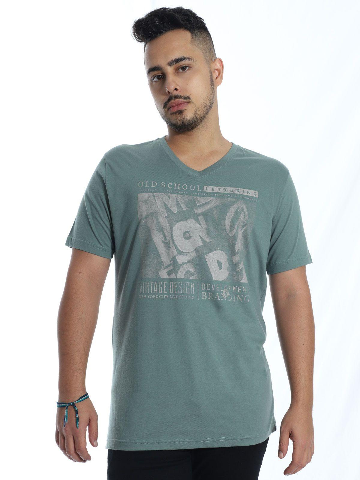 Camiseta Masculina Básica Decote V. Anistia Old School Concreto