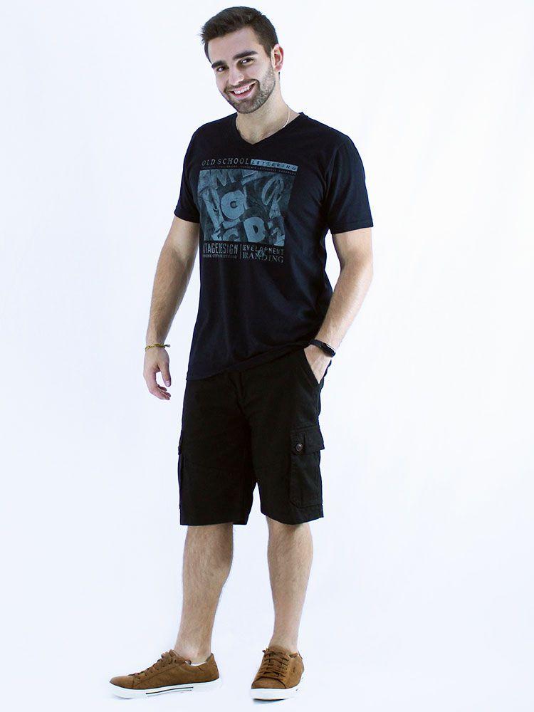 Camiseta Masculina Básica Decote V. Manga Curta School Preto