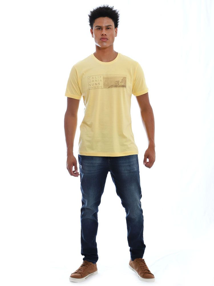 Camiseta Masculino Básica Gola Careca Estampada Suns Amarelo