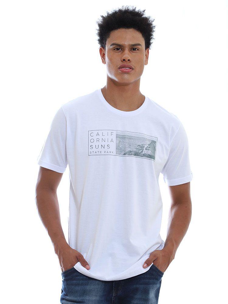 Camiseta Masculino Básica Gola Careca Estampada Suns Branco