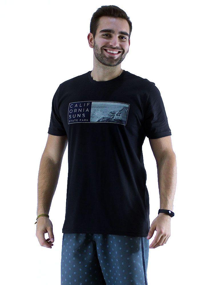 Camiseta Masculino Básica Gola Careca Estampada Suns Grafite