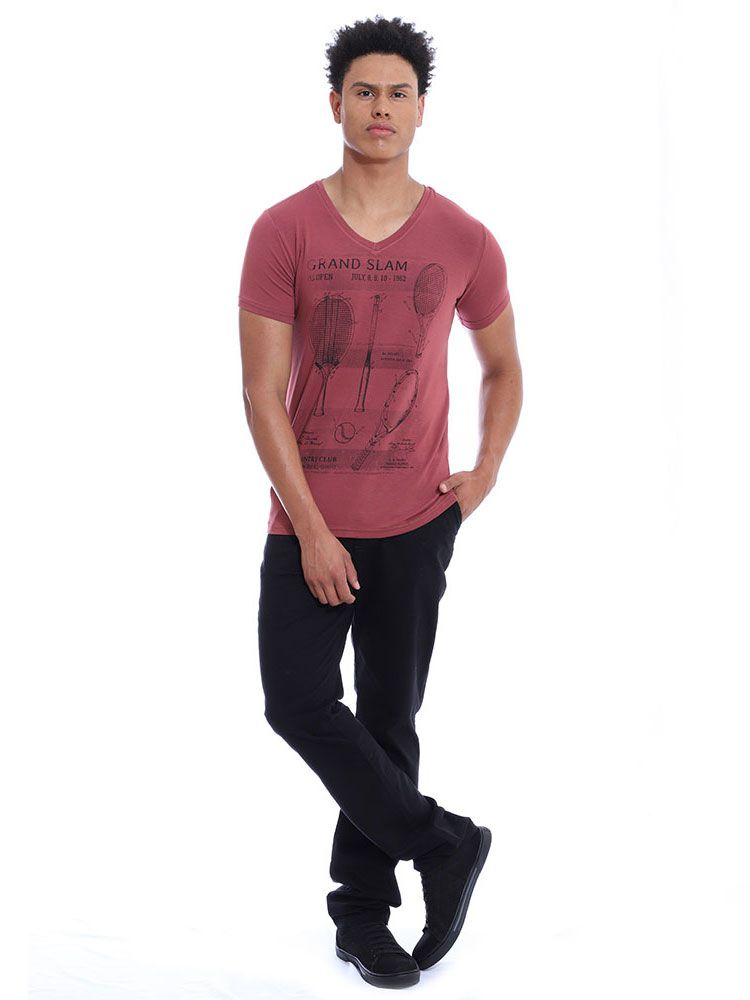 Camiseta Masculina Decote V. Visco Slim Fit Anistia Bordo