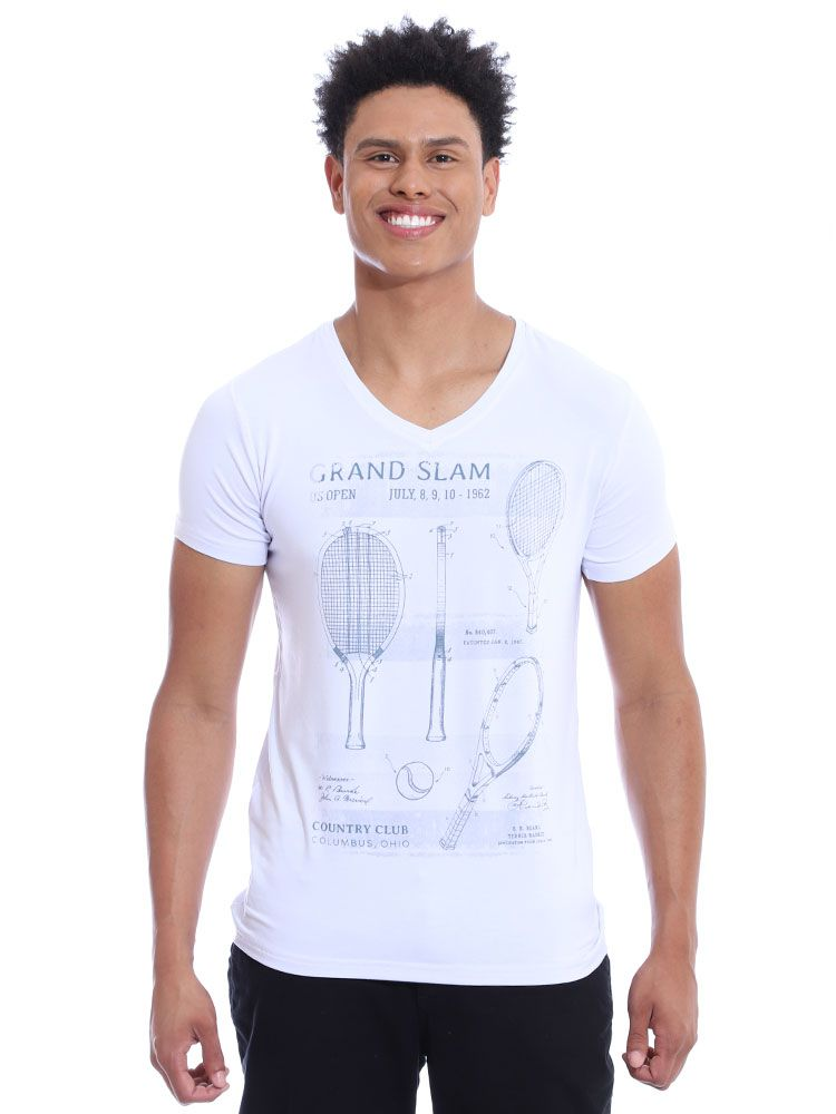 Camiseta Anistia Decote V. Visco Slim Fit Branco