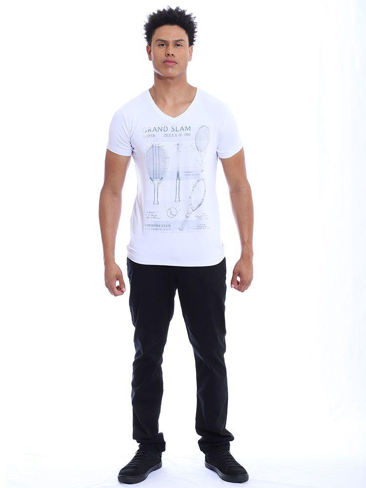 Camiseta Masculina Decote V. Visco Slim Fit Anistia Branco