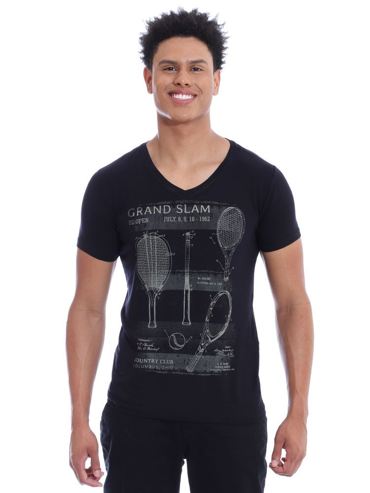 Camiseta Anistia Decote V. Visco Slim Fit Preto