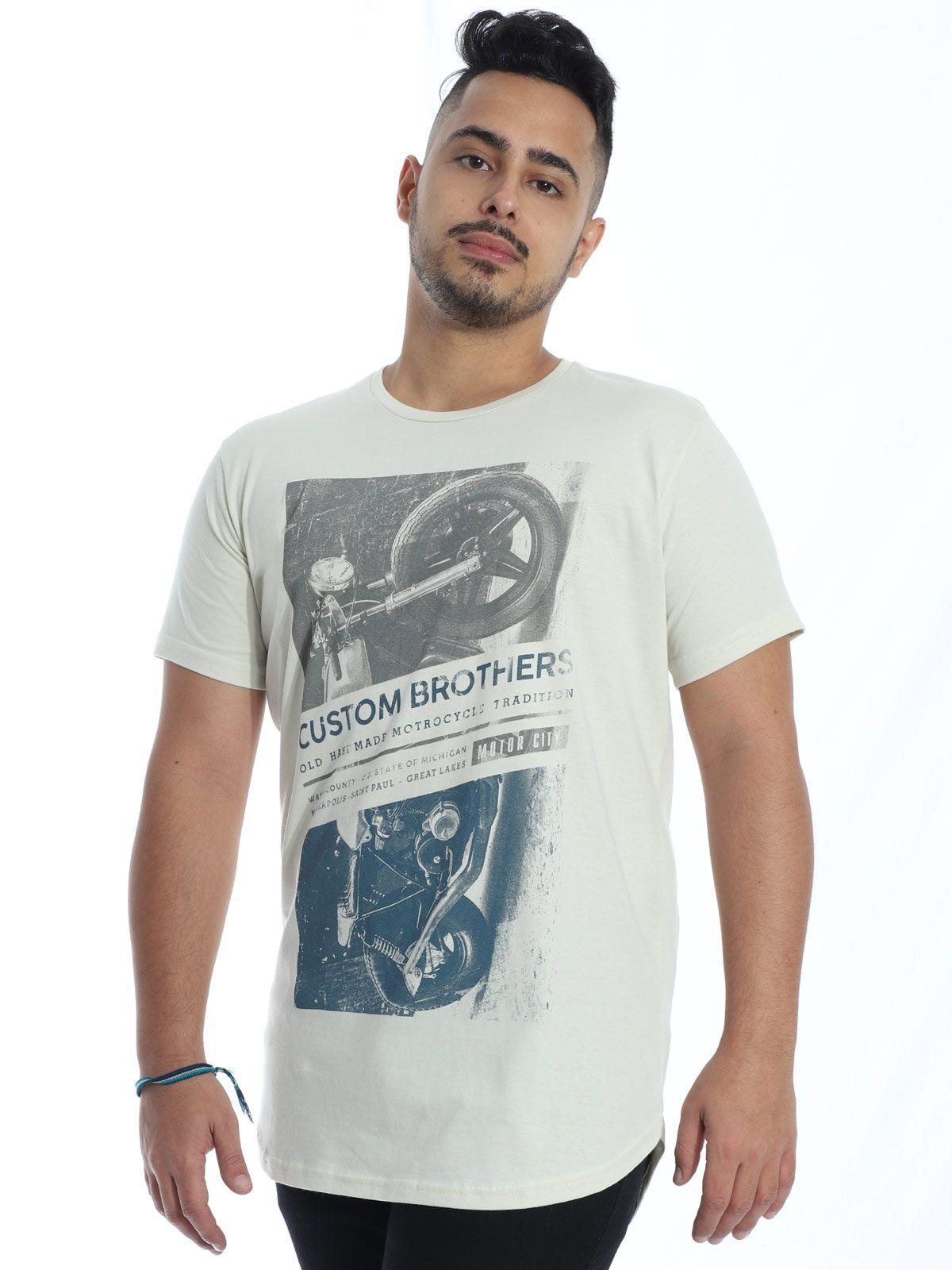 Camiseta Anistia Longline Swag Custon Areia