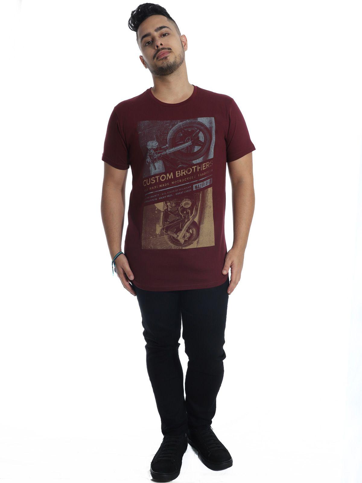 Camiseta Anistia Longline Swag Custon Vinho
