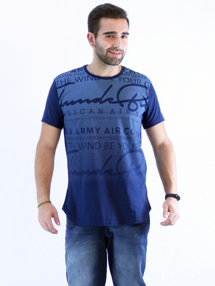 Camiseta Anistia Longline Swag Frontier Marinho