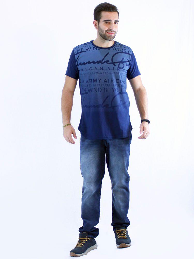Camiseta Masculina Longline Swag Anistia Frontier Marinho