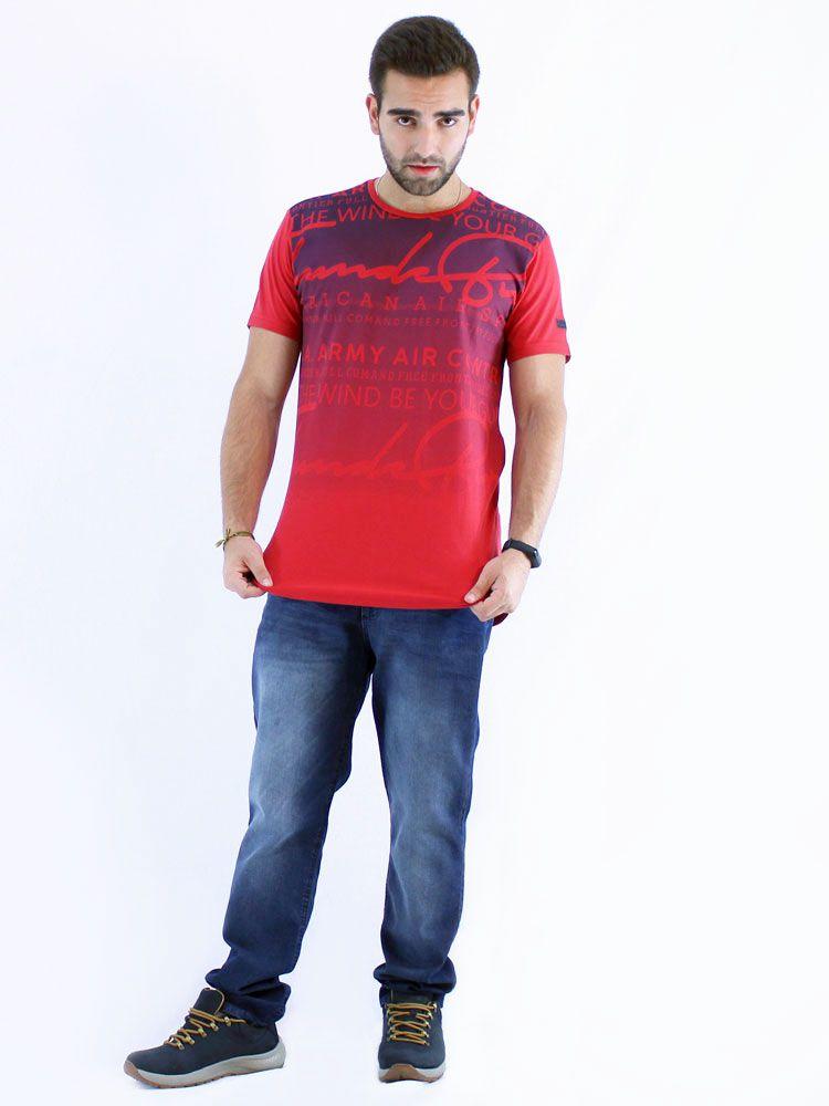 Camiseta Masculina Longline Swag Anistia Frontier Vermelho