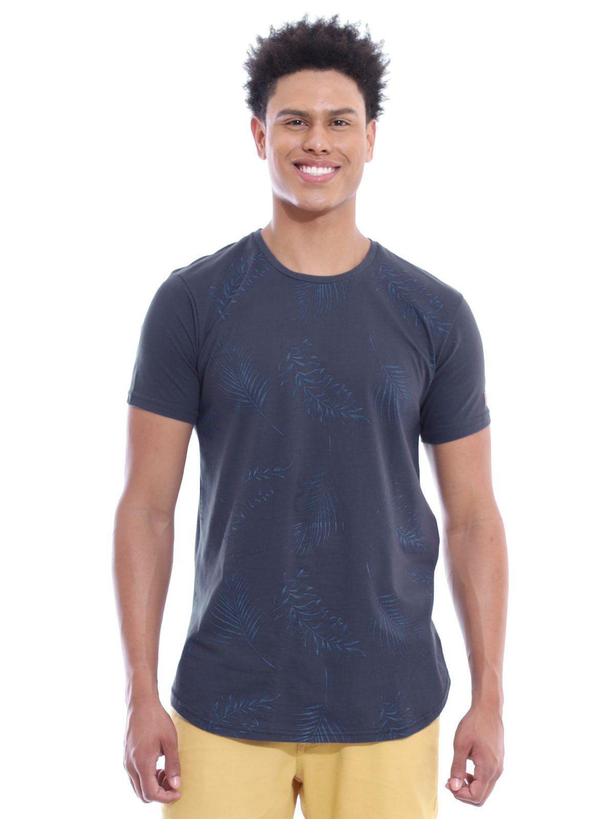 Camiseta Masculina Longline Swag Algodão Estampada Marinho