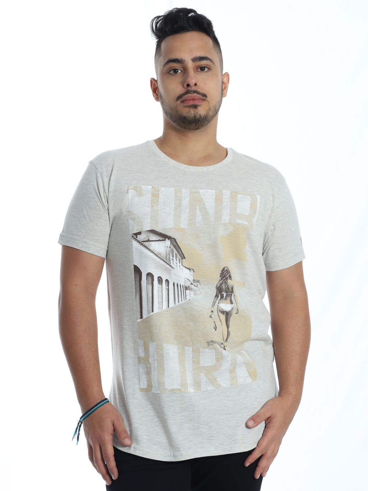 Camiseta Anistia Longline Swag Sun Burn Mescla Cru