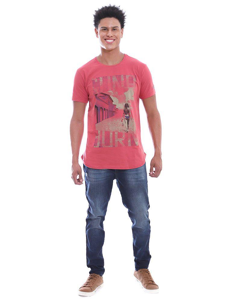 Camiseta Anistia Longline Swag Sun Burn Vermelho