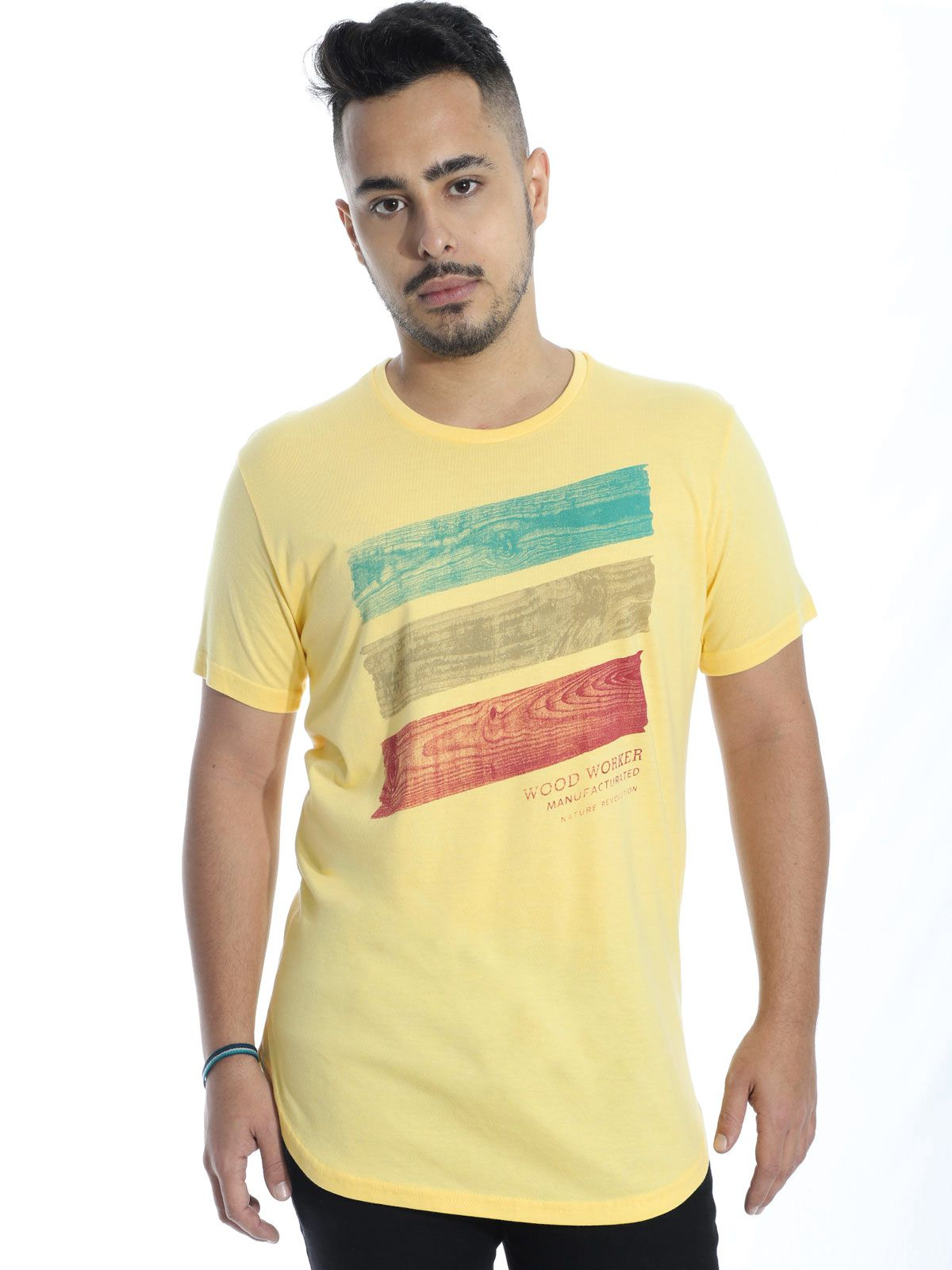 Camiseta Anistia Longline Swag Wood Amarelo