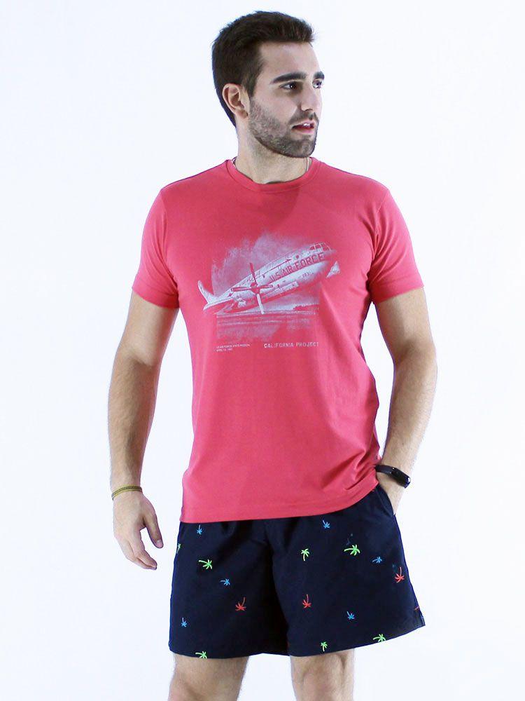 Camiseta Masculina Slim Fit com Elastano Anistia Air Force Vermelho