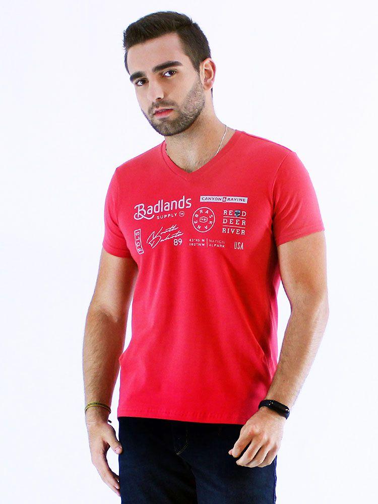 Camiseta Anistia Slim Fit com Elástano Decote V. Vermelha