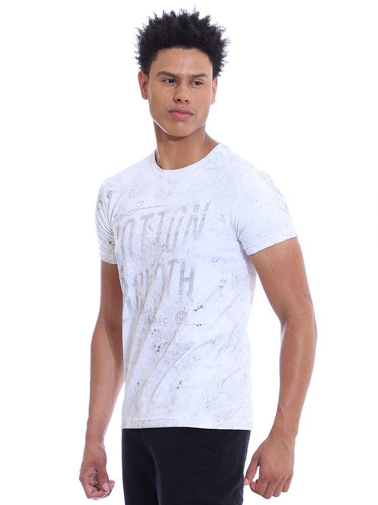 Camiseta Masculina Slim Fit Confort Stonada Manga Curta Branco