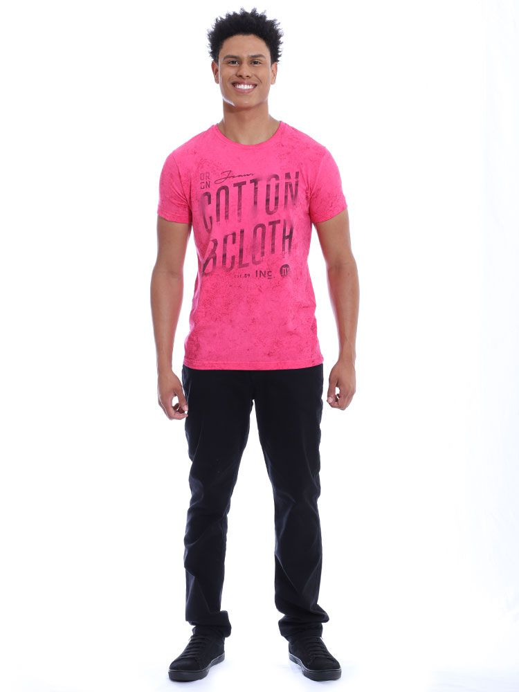 Camiseta Masculina Slim Fit Confort Stonada Manga Curta Chiclete