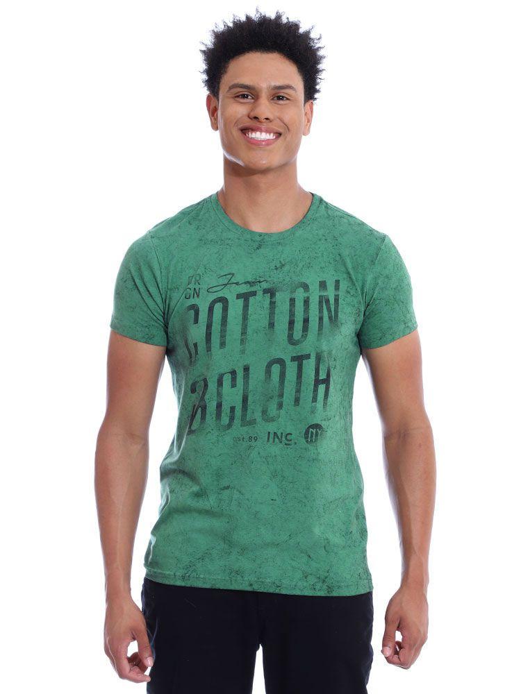 Camiseta Masculina Slim Fit Confort Stonada Manga Curta Musgo