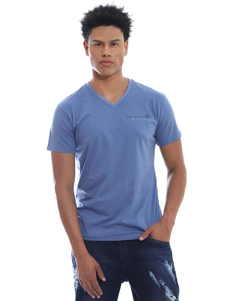 Camiseta Anistia Slim Fit Decote V. Amsterdan Indigo