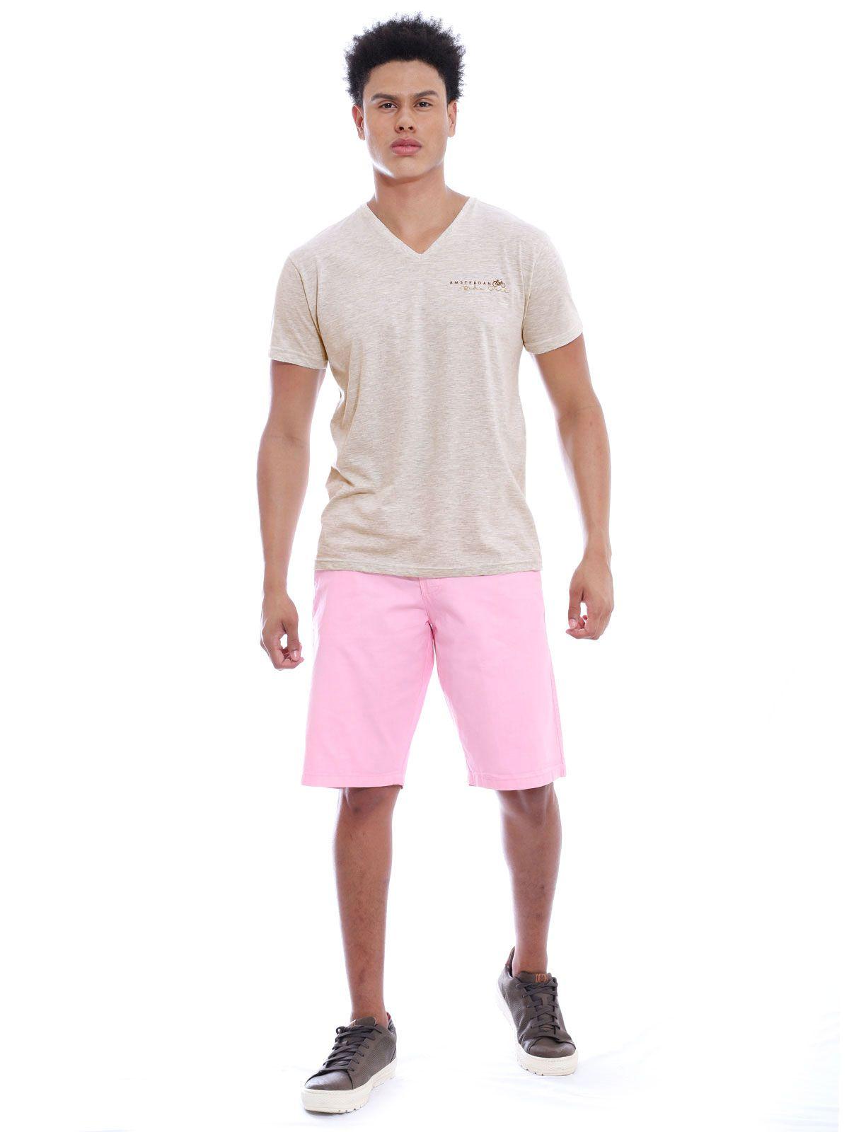Camiseta Anistia Slim Fit Decote V. Amsterdan Mescla Cru