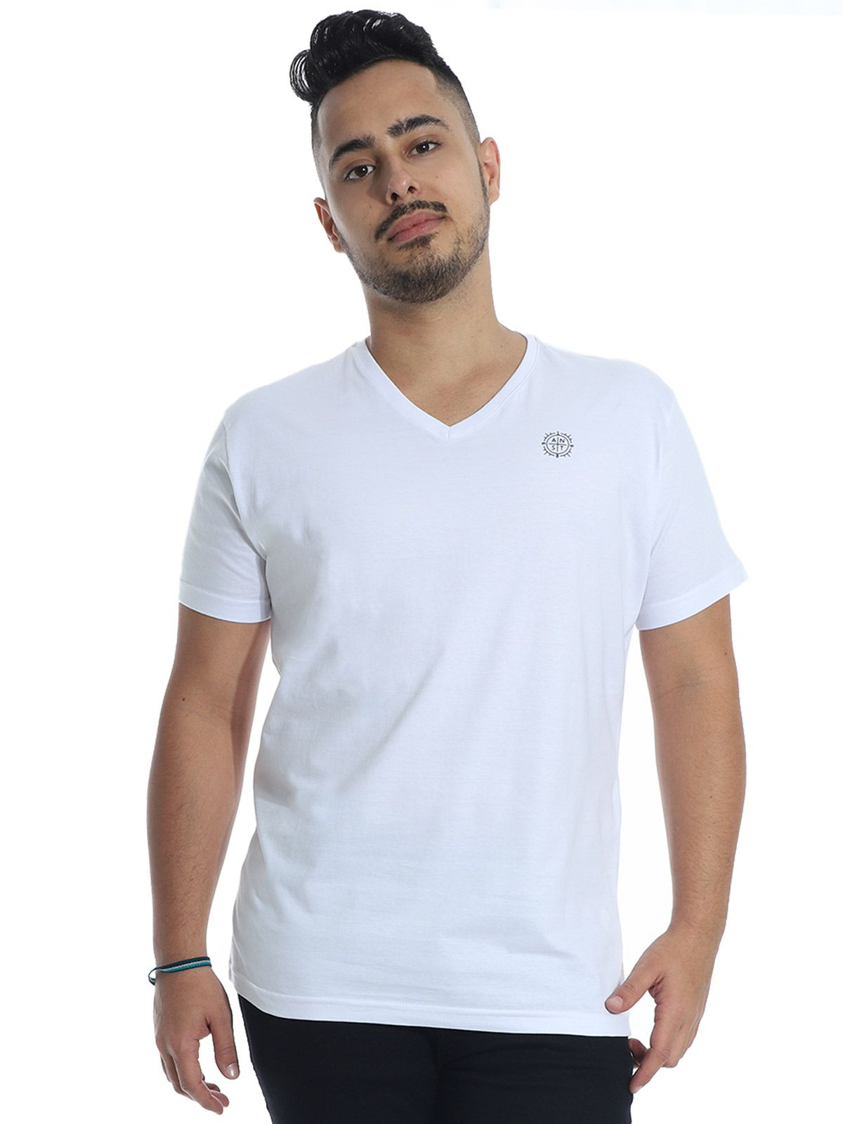 Camiseta Anistia Slim Fit Decote V. ANST Branco