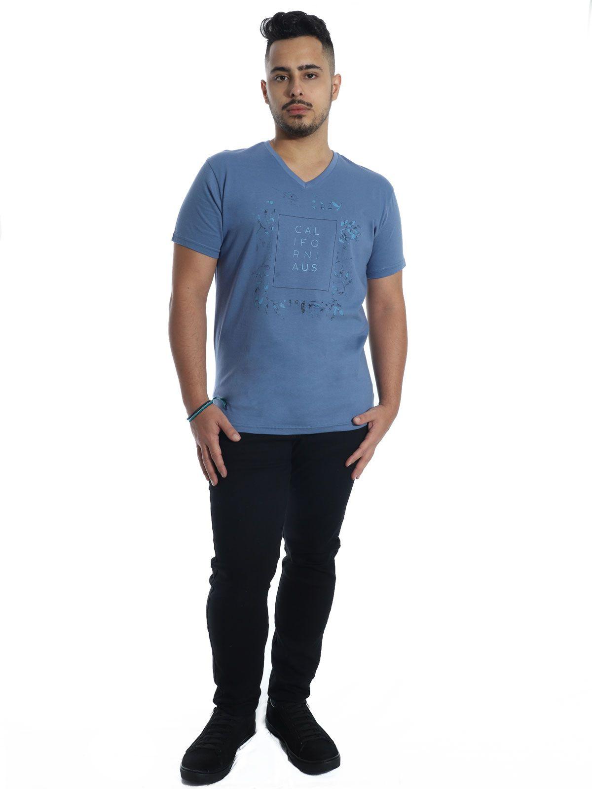 Camiseta Anistia Slim Fit Decote V. California Indigo