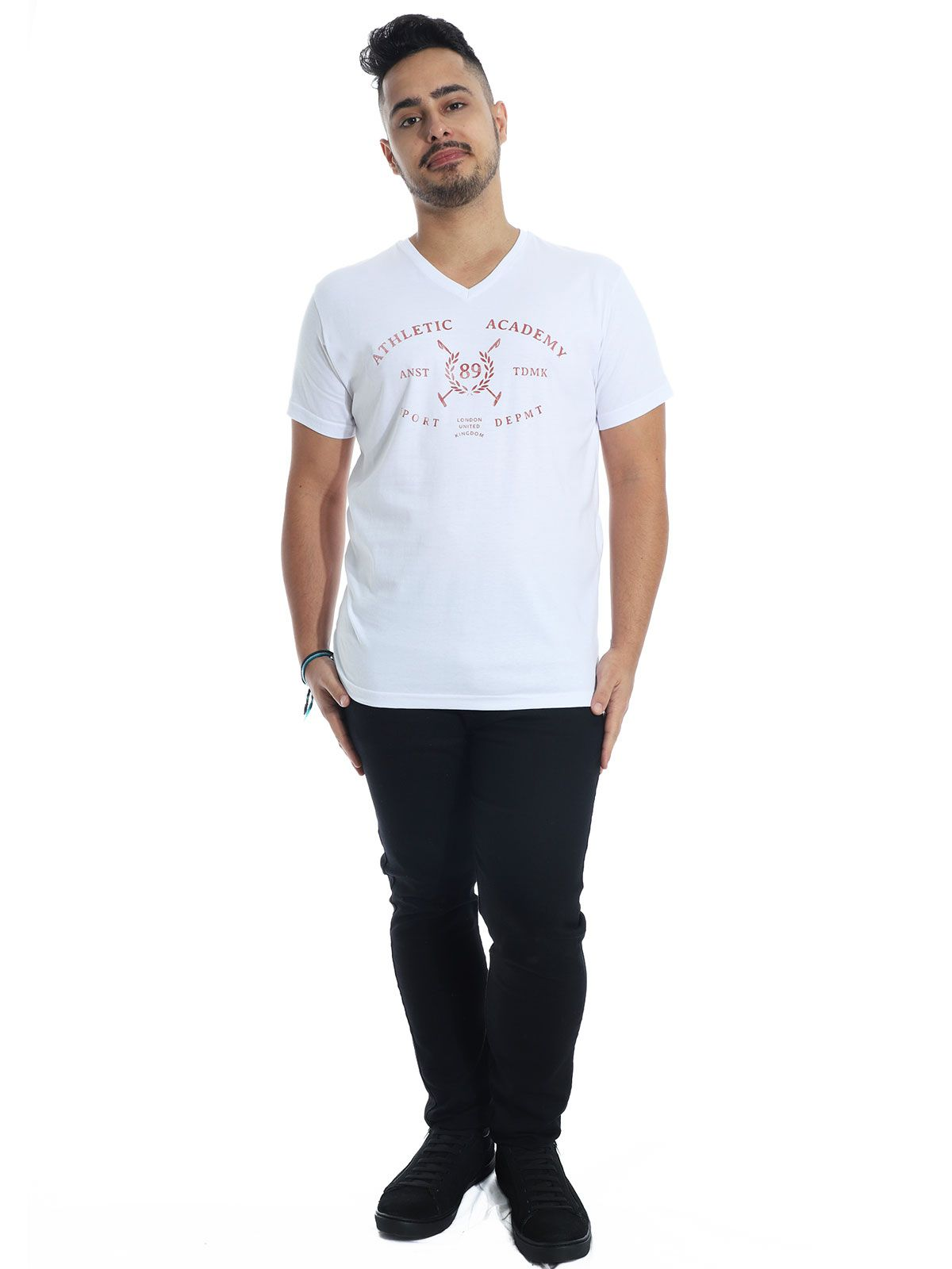 Camiseta Anistia Slim Fit Decote V. England Branco