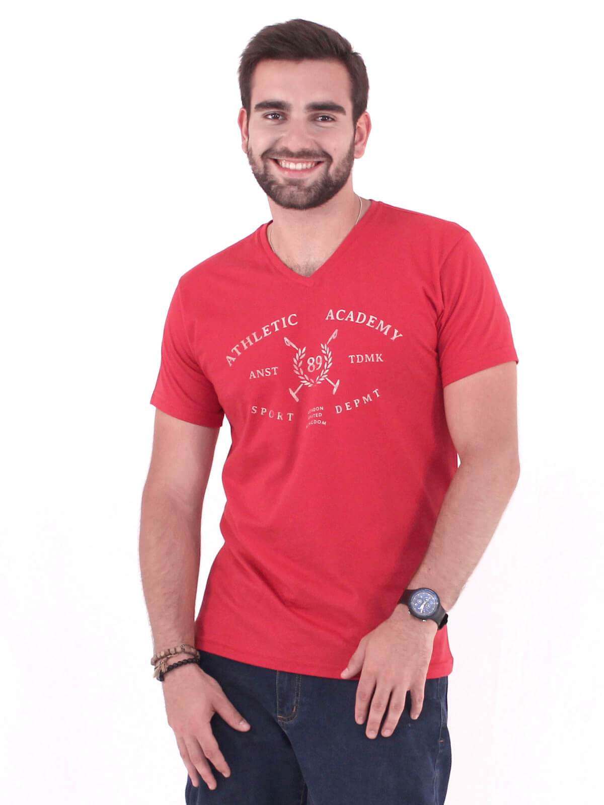Camiseta Masculina Slim Fit Decote V. Manga Curta Estampada Vermelho