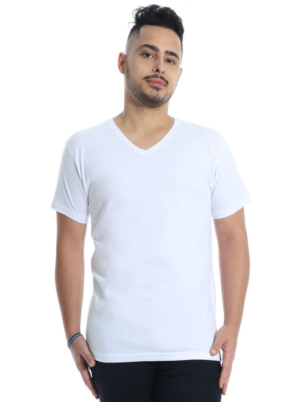 Camiseta Masculina Decote V. Algodão Slim Fit Lisa Branco