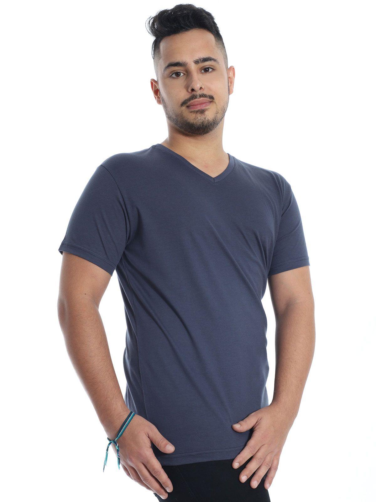 Camiseta Masculina Decote V. Algodão Slim Fit Lisa Grafite