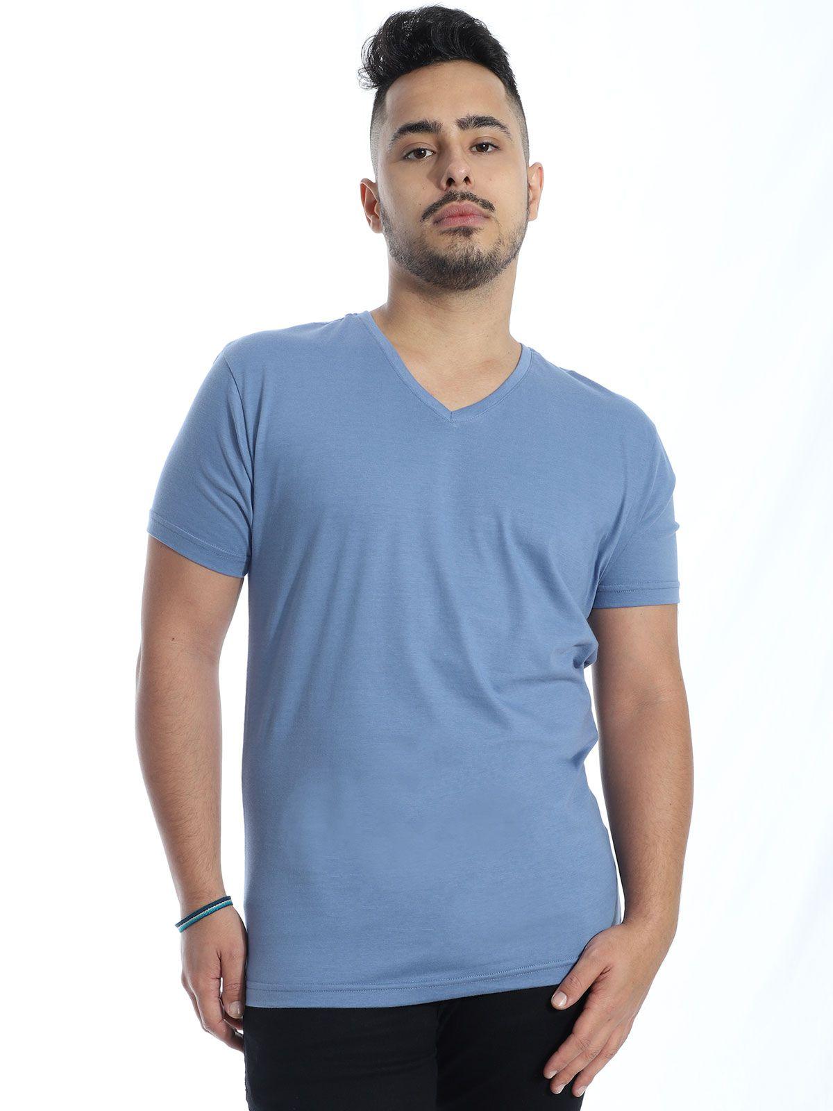 Camiseta Masculina Decote V. Algodão Slim Fit Lisa Indigo