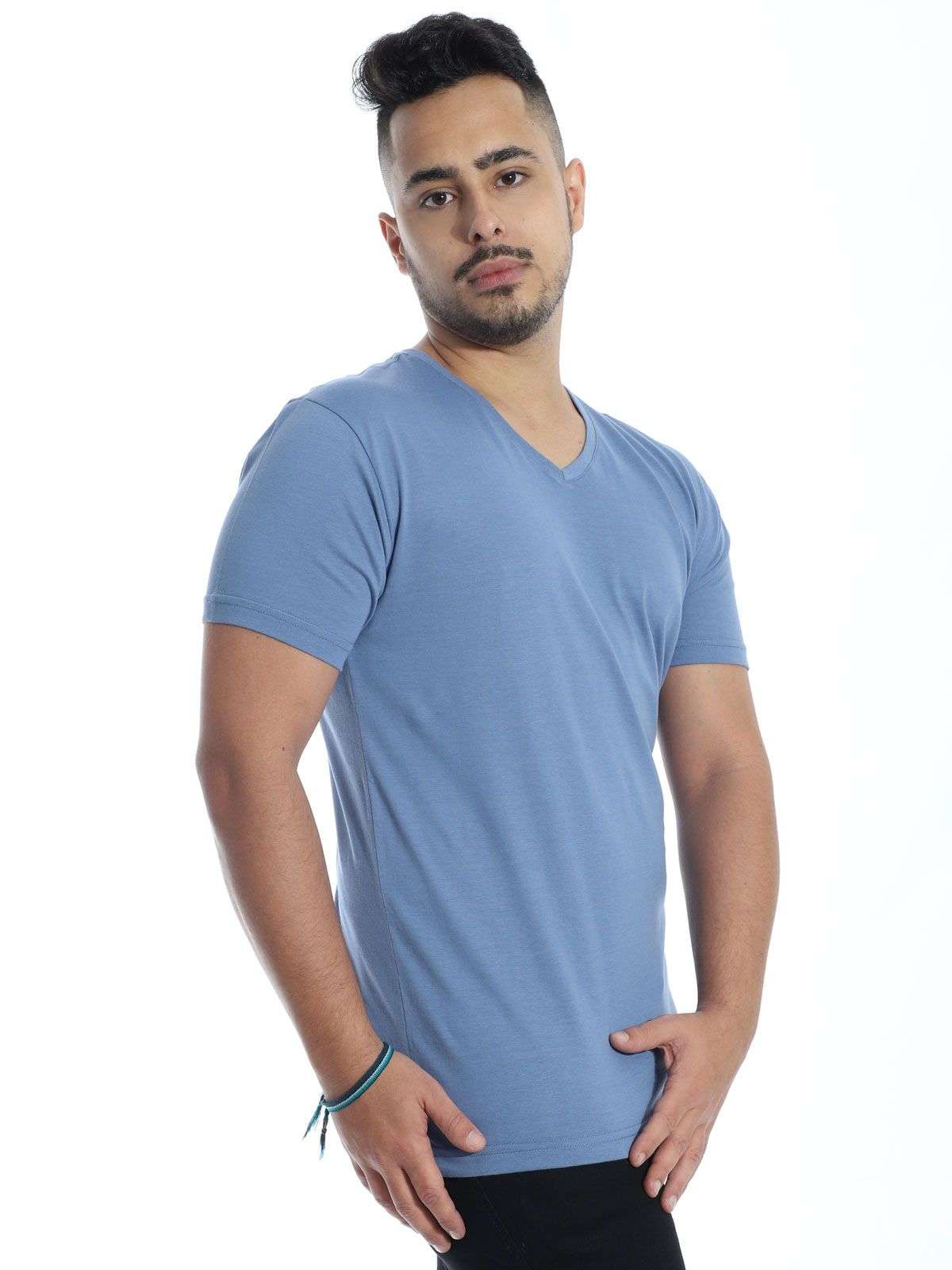 Camiseta Anistia Slim Fit Decote V. Lisa Indigo