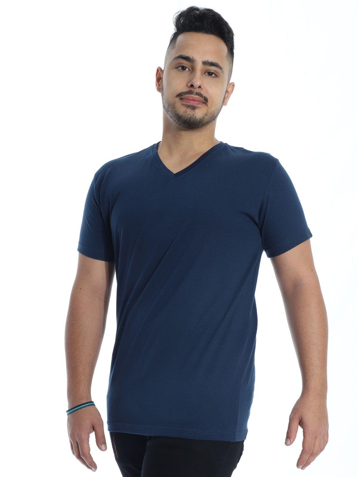 Camiseta Masculina Decote V. Algodão Slim Fit Lisa Marinho