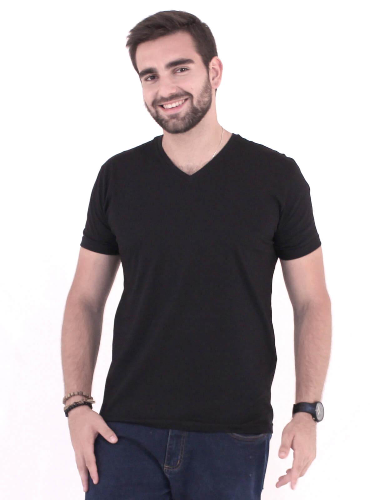 Camiseta Masculina Decote V. Algodão Slim Fit Lisa Preto