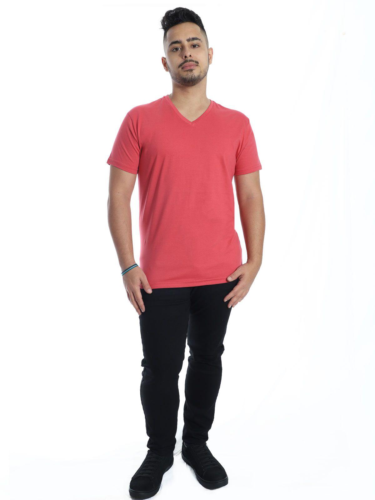 Camiseta Masculina Decote V. Algodão Slim Fit Lisa Vermelho