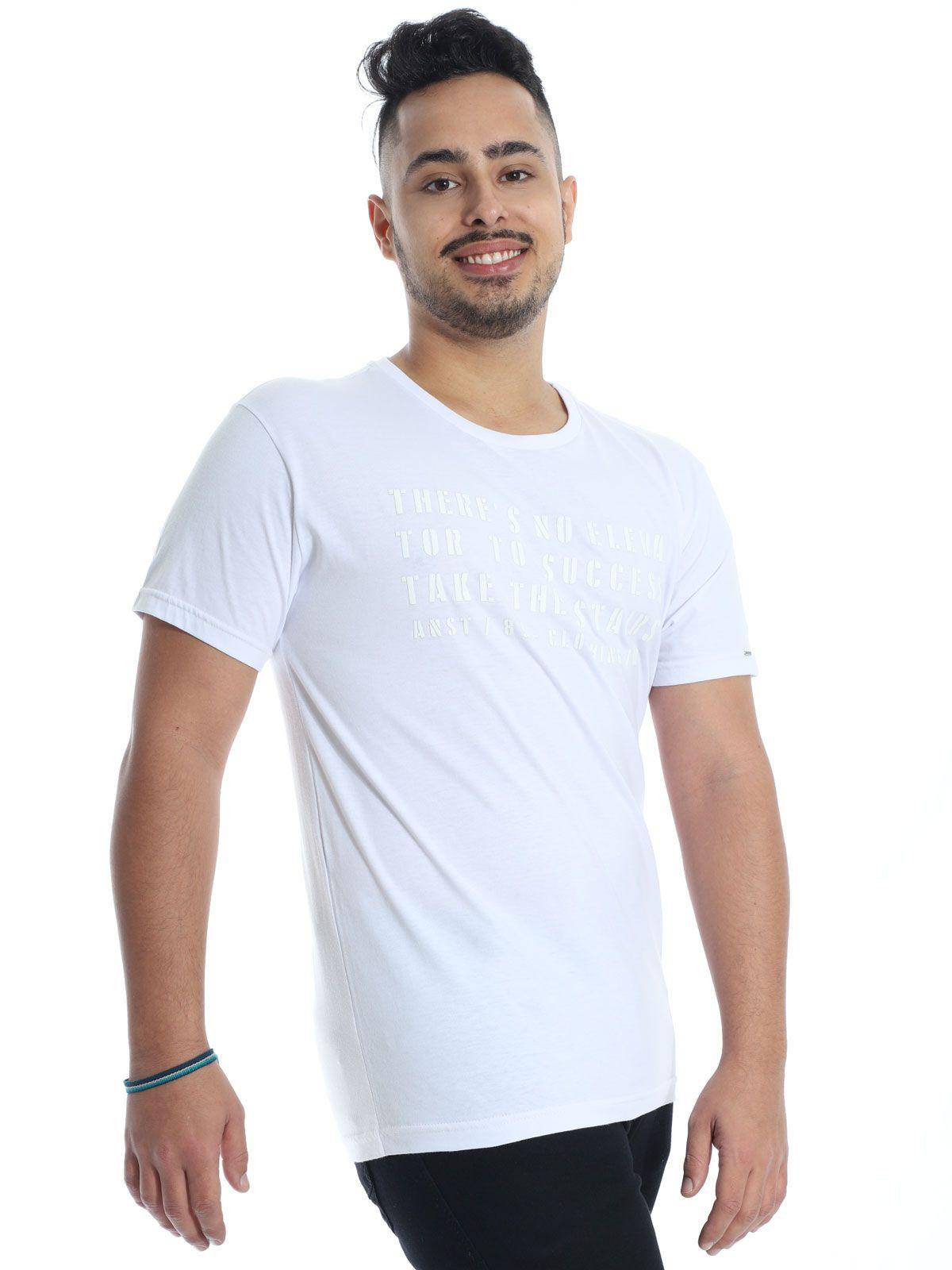 Camiseta Masculina Slim Fit Anistia Elevator Branca