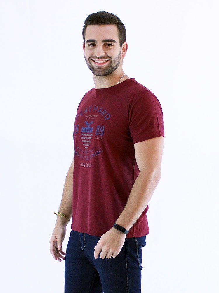 Camiseta Masculina Slim Fit Flame Anistia London Bordo