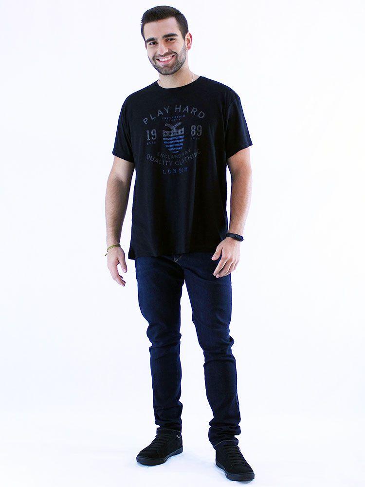 Camiseta Masculina Slim Fit Flame Anistia London Preto