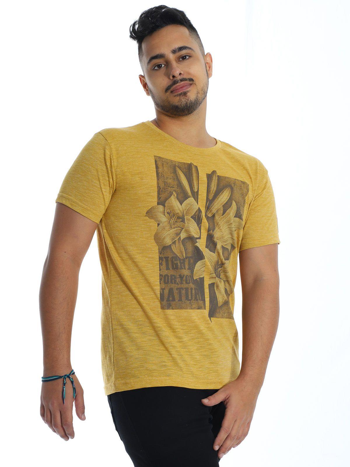 Camiseta Anistia Slim Fit Granite Amarelo