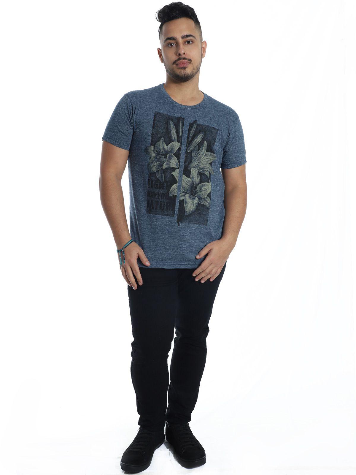 Camiseta Anistia Slim Fit Granite Azul