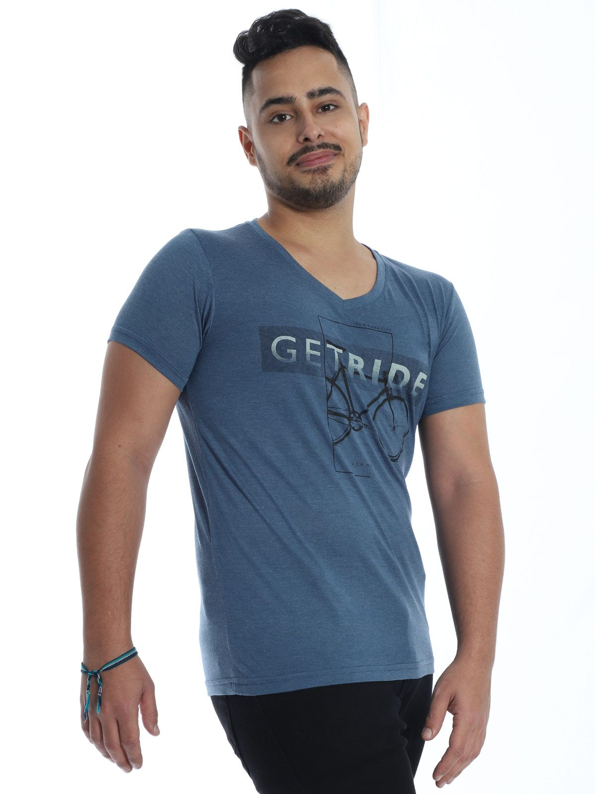Camiseta Anistia Slim Fit Modal Ride Azul