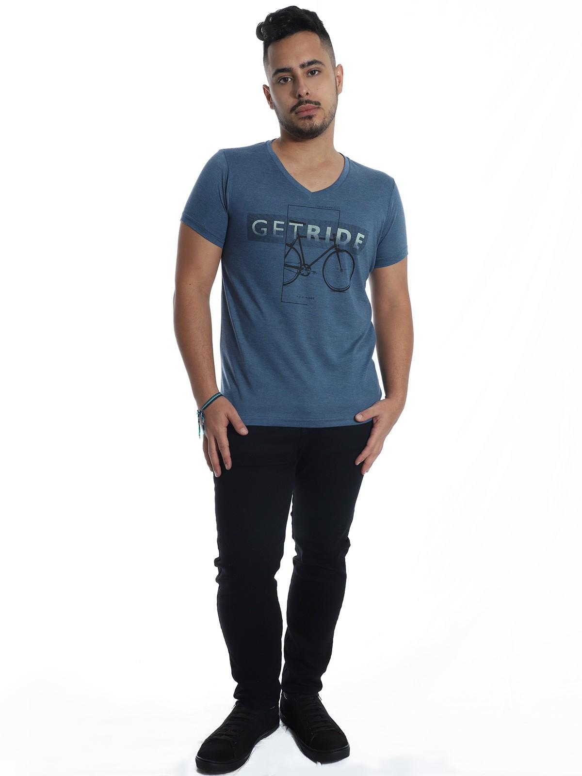 Camiseta Anistia Slim Fit Modal Ride Azul
