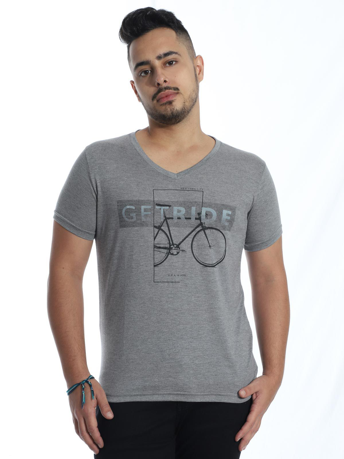 Camiseta Anistia Slim Fit Modal Ride Cinza